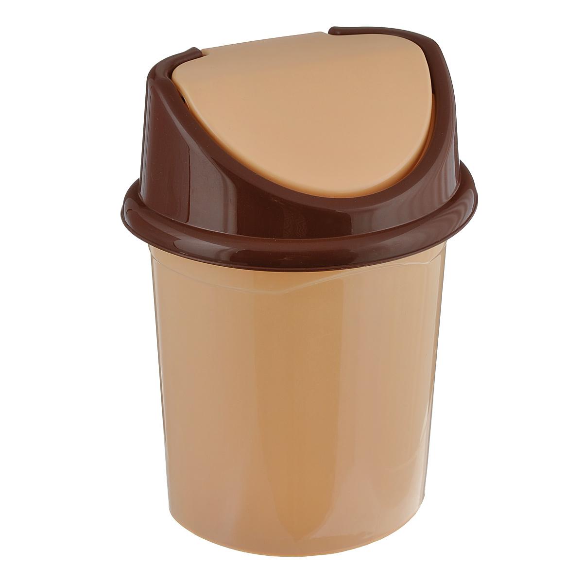 Контейнер для мусора Violet, цвет: бежевый, коричневый, 8 л