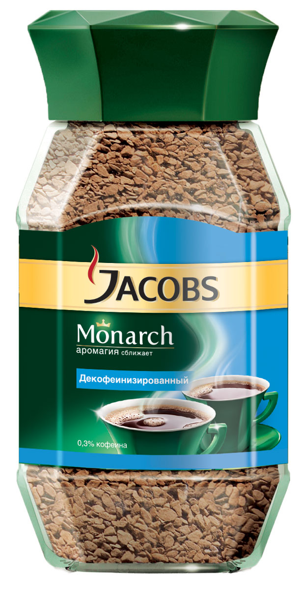 Jacobs Monarch Decaff кофе растворимый, 95 г кофе jacobs monarch якобс монарх intense растворимый сублимированный 150г пакет