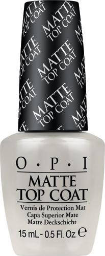 OPI Верхнее покрытие для создания матового эффекта Matte Top-Coat, 15 мл5010777139655Профессиональная формула быстро закрепляет лак, оставляя после высыхания гладкую ровную поверхность с матовым эффектом.