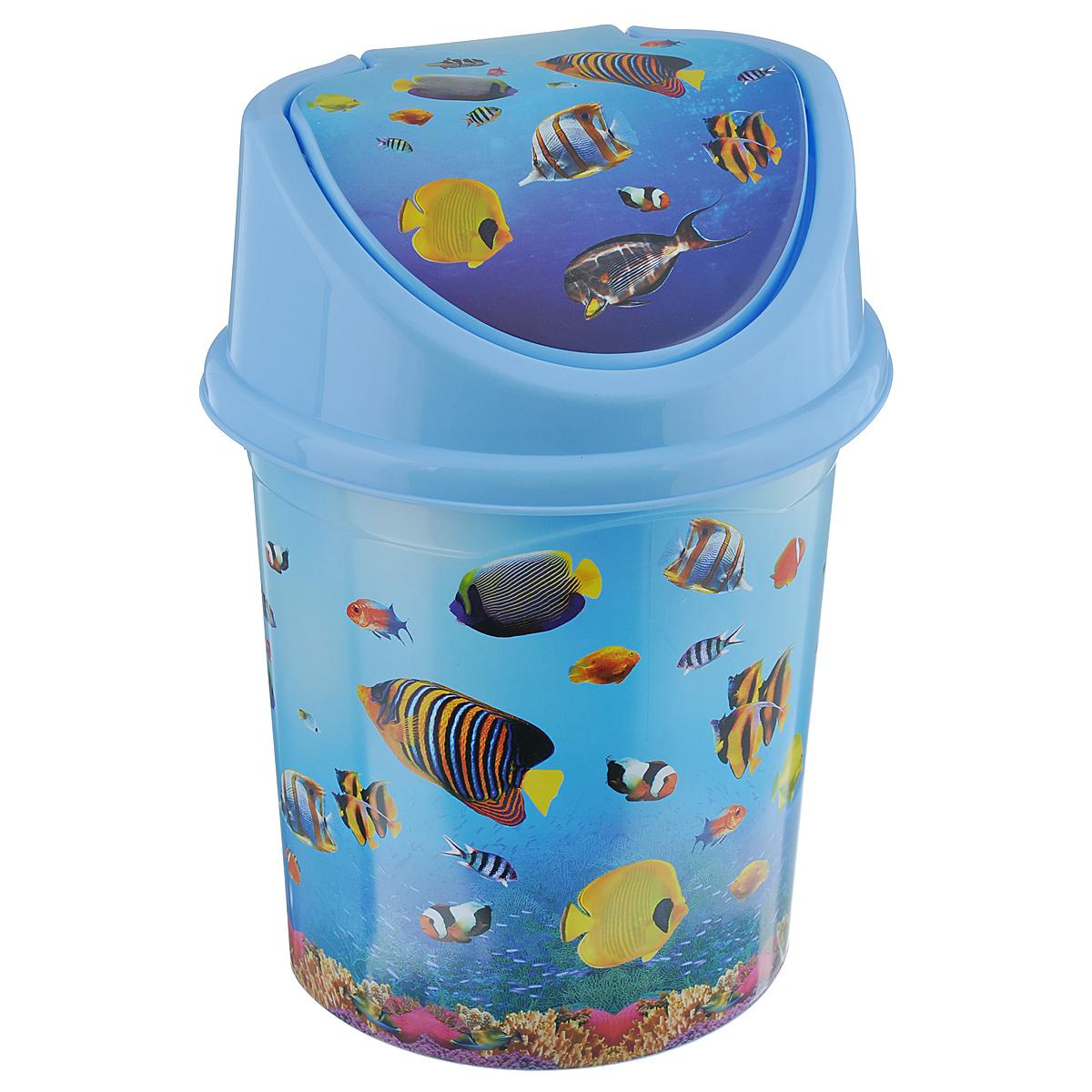 Контейнер для мусора Violet Океан, цвет: голубой, синий, желтый, 4 лRG-D31SКонтейнер для мусора Violet Океан изготовлен из прочного пластика. Контейнер снабжен удобной съемной крышкой с подвижной перегородкой. В нем удобно хранить мелкий мусор. Благодаря яркому дизайну такой контейнер идеально впишется в интерьер и дома, и офиса.Размер изделия: 16 см x 20 см x 27 см.