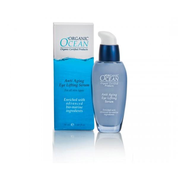 Organic Ocean Антивозрастная сыворотка -лифтинг для глаз, 30млAC-2233_серыйСыворотка для кожи вокруг глаз направлена на коррекцию возрастных изменений. Средство обогащено экстрактом морской водоросли АЛЯРИЯ, которая стимулирует синтез коллагена и эластина. Сыворотка содержит активный омолаживающий комплекс ИЗИЛЬЯНС. Данный компонент обладает мгновенным лифтинговым эффектом, разглаживает кожу, мелкие морщинки исчезают, глубина морщин сокращается. Органические масла и растительные экстракты СЕНГЕЛЬСКОЙ АКАЦИИ, КАТРАНА ПРИМОРСКОГО, ЛЮЦЕРНЫ, СКВАЛЕНА, АЛОЭ-ВЕРА, ОЛИВЫ, ЖОЖОБА ускоряют регенерацию клеток кожи, в результате кожа вокруг глаз выглядит молодой и здоровой. Сыворотка быстро впитывается, не оставляя ощущения жирности, подходит для чувствительной кожи.