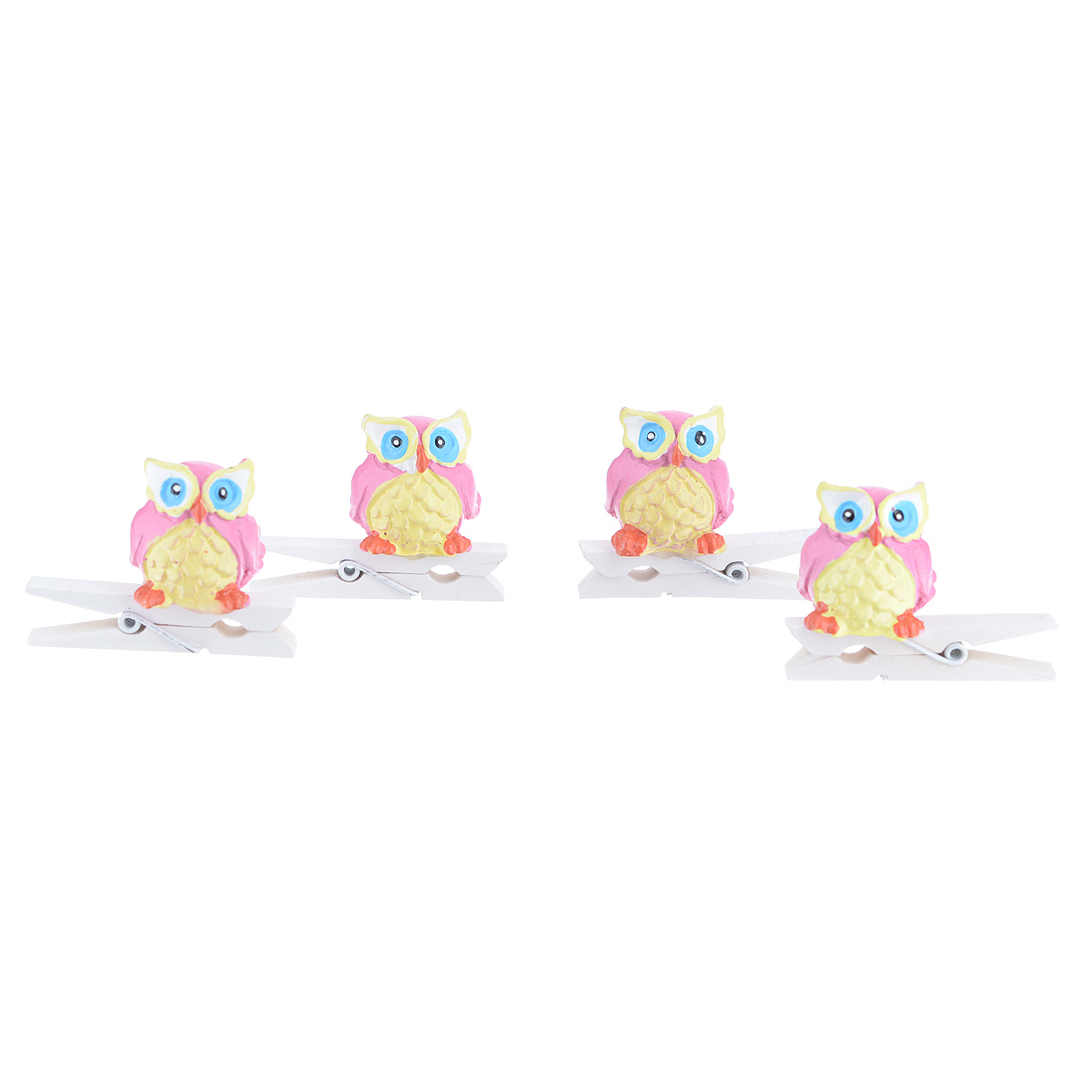 Набор декоративных прищепок Феникс-презент Совушки, 4 шт. 39434KOCNL-EL112Набор Феникс-презент Совушки состоит из 4 декоративных прищепок, выполненных из дерева. Прищепки оформлены декоративными фигурками из полирезины в виде сов. Изделия используются для развешивания стикеров на веревке, маленьких игрушек, а оригинальность и веселые цвета прищепок будут радовать глаз и поднимут настроение.Размер прищепки: 4,5 см х 1,5 см х 3,5 см.