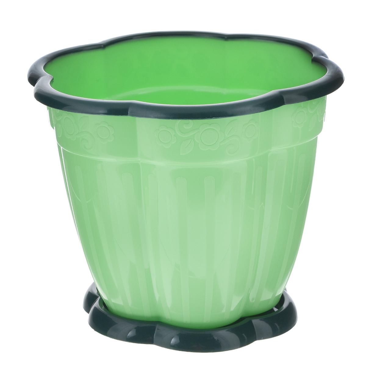 Горшок для цветов Альтернатива Восторг, цвет: зеленый, черный, 1,5 лZ-0307Горшок для цветов Альтернатива Восторг изготовлен из прочного пластика, оформлен цветочным рельефом и черным кантом по краю. Горшок оснащен поддоном. Диаметр горшка (по верхнему краю): 16 см. Высота горшка: 13 см.