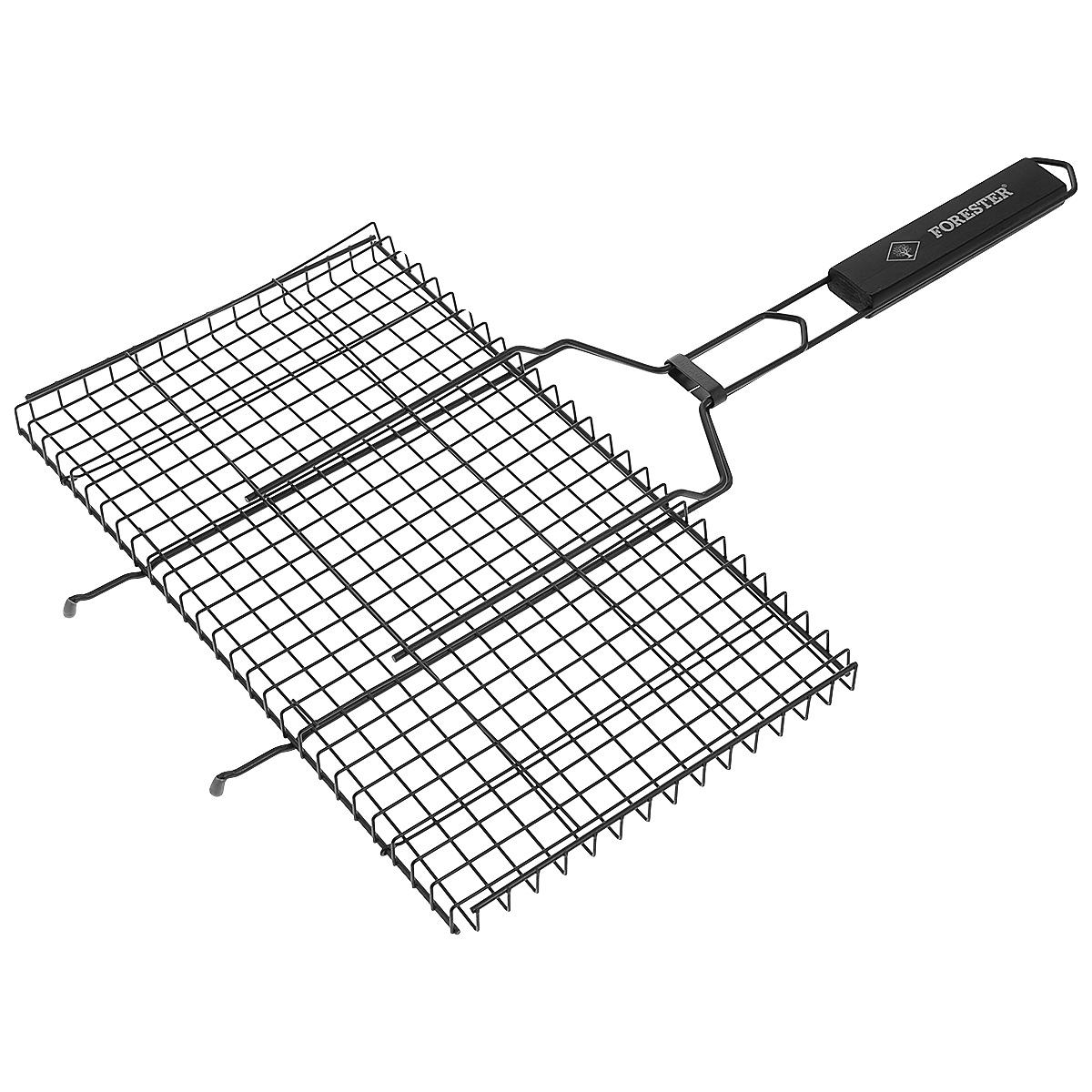 Решетка-гриль Forester, с антипригарным покрытием, цвет: черный, 45 см х 25 смNN-627-LS-RУниверсальная решетка-гриль Forester изготовлена из высококачественной стали с антипригарным покрытием. На решетке удобно размещать стейки, ребрышки, гамбургеры, сосиски, рыбу, овощи. Предназначена для приготовления пищи на углях. Блюда получаются сочными, ароматными, с аппетитной специфической корочкой. Рукоятка изделия оснащена деревянной вставкой и фиксирующей скобой, которая зажимает створки решетки. Размер рабочей поверхности решетки (без учета усиков): 45 см х 25 см.Общая длина решетки (с ручкой): 69 см.