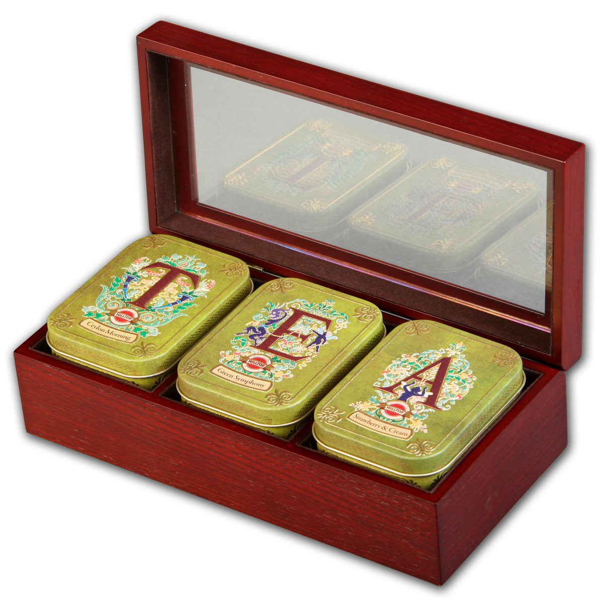 Hilltop Tea набор зеленого и черного листового чая в подарочной шкатулке, 150 г4607099303072Hilltop Tea - все, что нужно для удовольствия от чаепития. Деревянная шкатулка со стеклянной крышкой скрывает в себе три жестяные чайницы с великолепными вкусами! Отличный подарок для истинных ценителей чая.Цейлонское утро — классический цейлонский черный чай с терпким вкусом, мягким ароматом и тонизирующими свойствами. Отлично дополняет завтрак или праздничный сладкий стол.Зеленая симфония — китайский зеленый чай с добавлением лепестков календулы и мальвы и с ароматом тропического манго.Земляника со сливками — крупнолистовой черный чай с листьями и плодами земляники, и со вкусом свежих сливок. Классика ароматизированных чаев. Попробуйте охлажденным, с добавлением кусочков льда!
