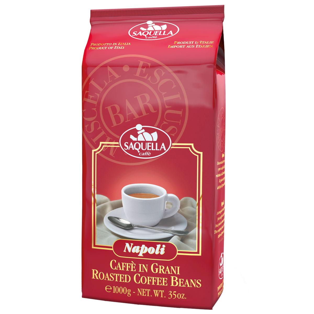 Saquella Napoli Bar кофе в зернах, 1000 г604354Saquella Napoli BAR - несравненный сорт с интенсивным и насыщенным вкусом Южноамериканской арабики и Индонезийской робусты. Эта смесь имеет мягкое винное послевкусие и густую пенку. Благодаря низкому содержанию кофеина, напиток можно употреблять и в вечернее время.
