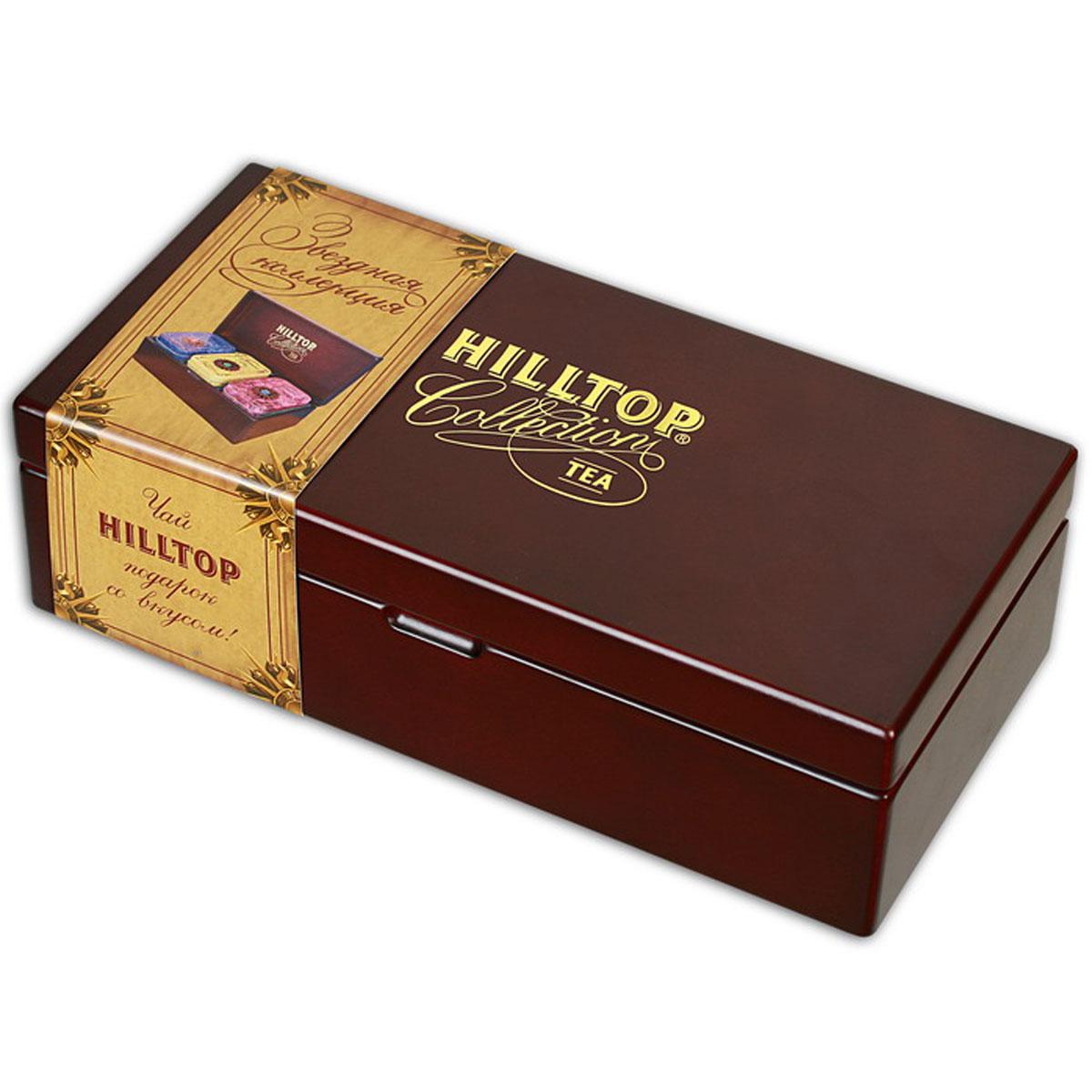Hilltop Звездная коллекция малая, набор листового чая, 170 г0120710Hilltop Звездная коллекция малая вы найдете в деревянной шкатулке с крышкой. Чай помещен в три стилизованные жестяные чайницы. Набор станет прекрасным и дорогим подарком, либо украсит ваш дом и праздничный стол.Цейлонское утро — классический цейлонский черный чай с терпким вкусом, мягким ароматом и тонизирующими свойствами. Отлично дополняет завтрак или праздничный сладкий стол.Жасминовый чай — изысканный успокаивающий с нежным вкусом жасмина и тонким ароматом свежести.Волшебная луна — необычная смесь цейлонского черного чая и зеленого чая Сенча. Необычная, как сама тайна... С добавлением лепестков подсолнечника, розы, плодов шиповника и кусочков папайи. С нотами натурального масла дыни, смородины, земляники и абрикоса.
