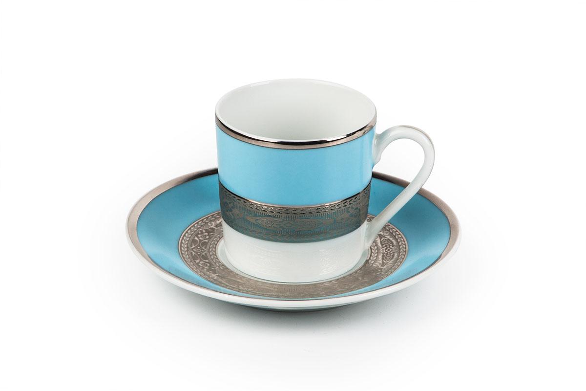 Mimosa 1626, набор кофейных пар (6 шт), цвет: бело-голубой с платинойVT-1520(SR)Кофейная пара 120 мл * 6 штук/ 12 предметов Материал: фарфор: цвет: бело-голубой с платинойСерия: MIMOSA