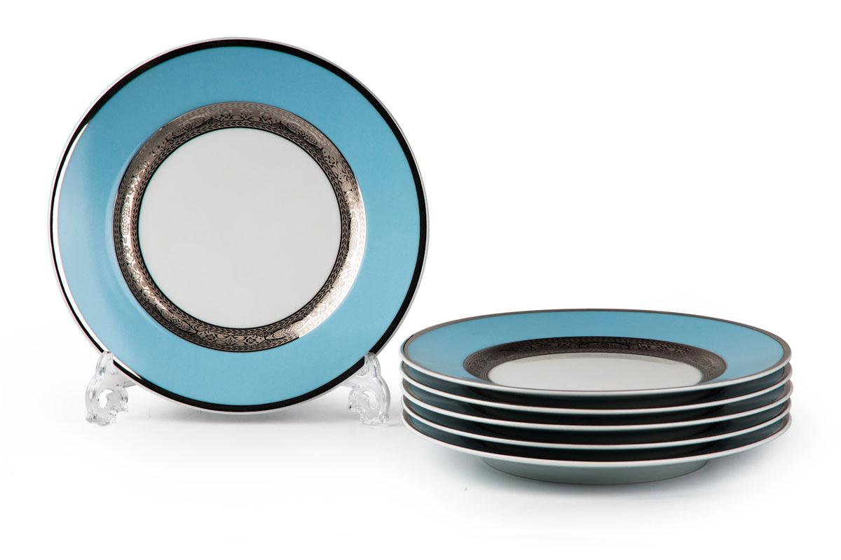 Mimosa 1626, набор глубоких тарелок 27см (6шт), цвет: бело-голубой с платиной54 009312В наборе глубокая тарелка 6 штук Материал: фарфор: цвет: бело-голубой с платинойСерия: MIMOSA