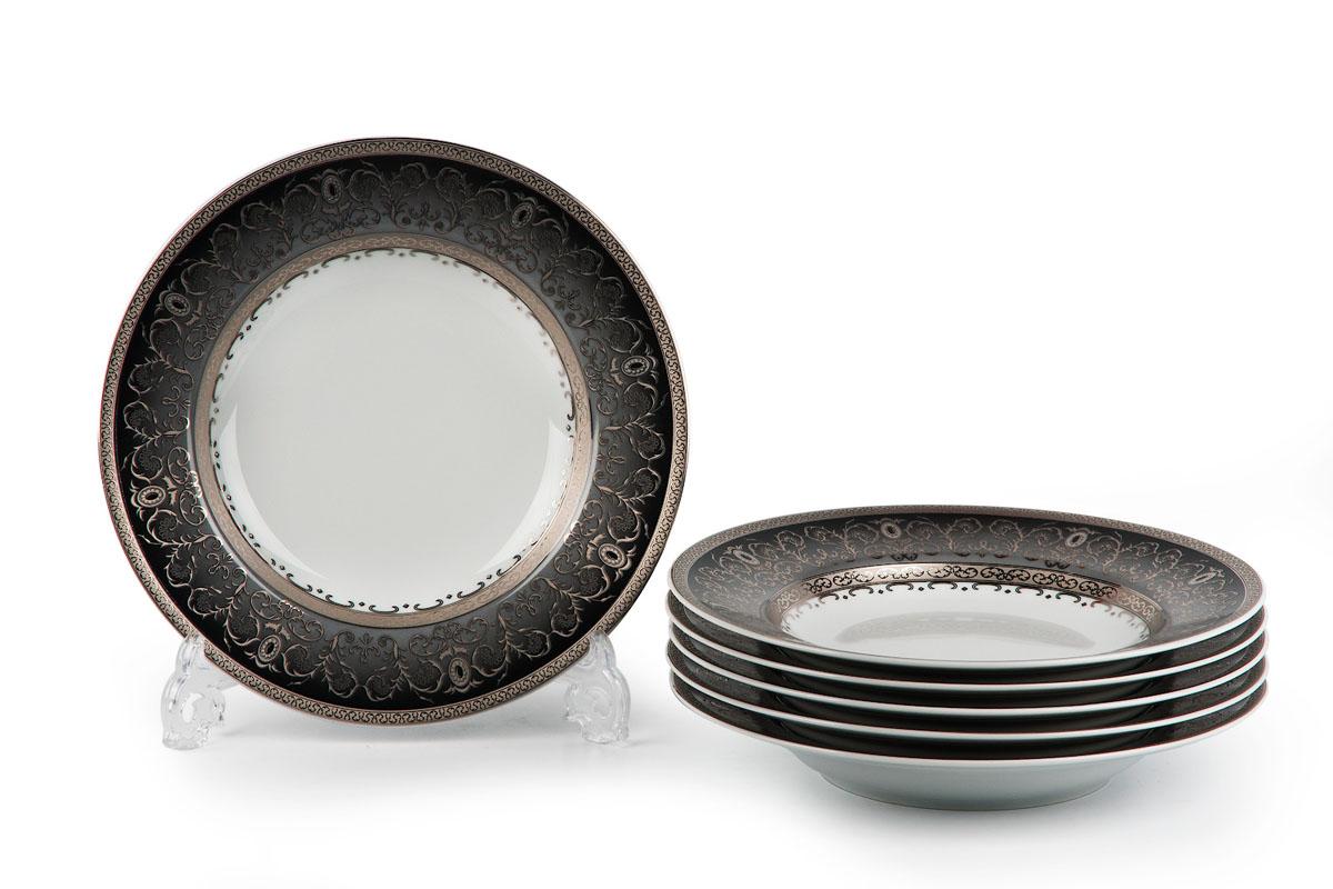 Mimosa, Prague Gris 1743, набор тарелок ГЛУБОКИХ (6шт), цвет: черно-белый с платинойFS-91909В наборе глубокая тарелка 6 штук Материал: фарфор: цвет: черно-белый с платинойСерия: MIMOSA