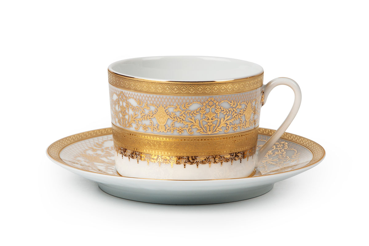 Mimosa 1645, Набор чайных пар *6шт (12 пр)115510Чайная пара 220 мл * 6 штук/ 12 предметов Материал: фарфор, цвет: белый с золотом