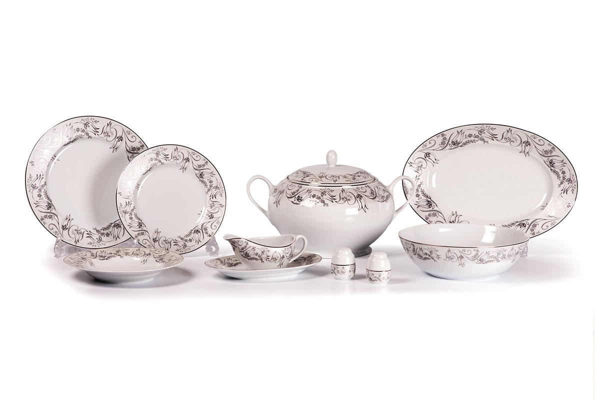 Mimosa 1589 сервиз столовый 25пр, цвет: белый с платинойVT-1520(SR)Супница 3,5 л , глубокая тарелка 22 см 6 штук , тарелка 27см 6 штук , десертная тарелка 21см 6 штук , солонка, перечница, Блюдо овальное 24 см, Блюдо овальное 35 см , салатник 25см, соусник 230мл.Элегантная посуда класса люкс теперь на вашем столе каждый день. Сделанные из высококачественного материала с использованием новейших технологий, предметы сервировки Tunisie Porcelaine невероятно прочны и прекрасно подходят для повседневного использования. Материал: фарфор: цвет: белый с платинойСерия: MIMOSA