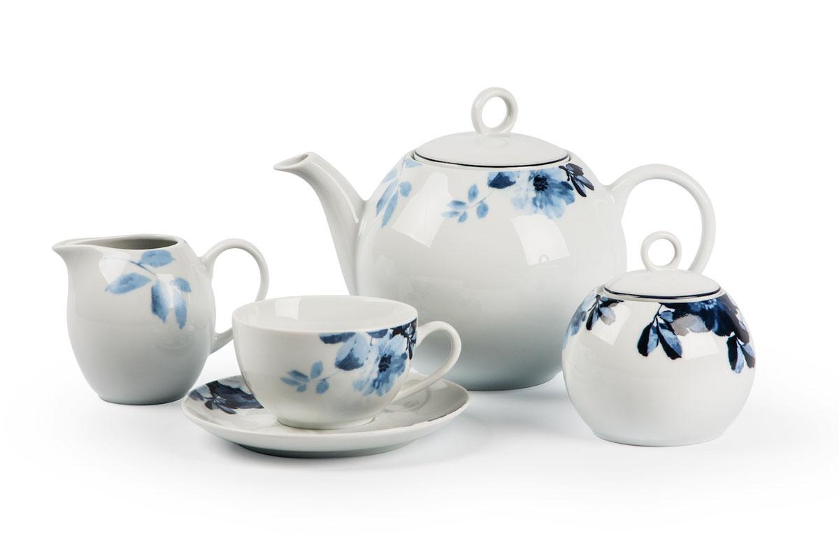 Monalisa 1780 чайный сервиз 15 пр, цвет: бело-синийVT-1520(SR)Чайник 1 л, сахарница 230мл, молочник 230мл, чайная пара 210 мл *6 штук. Фарфор фабрики Tunisie Porcelaine, производится в Тунисе из знаменитой своим качеством и белизной глины, добываемой во французской провинции Лимож.Преимущества этого фарфора заключаются в устойчивости к сколам и трещинам, что возможно благодаря двойному термическому обжигу. Европейский дизайн, декор и формы обеспечиваются за счет тесного сотрудничества фабрики с ведущими мировыми дизайн-бюро такими как: Nelly Reynal, Yves De la Rosiere, Sarah Anderson, Heracles. Материал: фарфор: цвет: бело-синийСерия: MONALISA