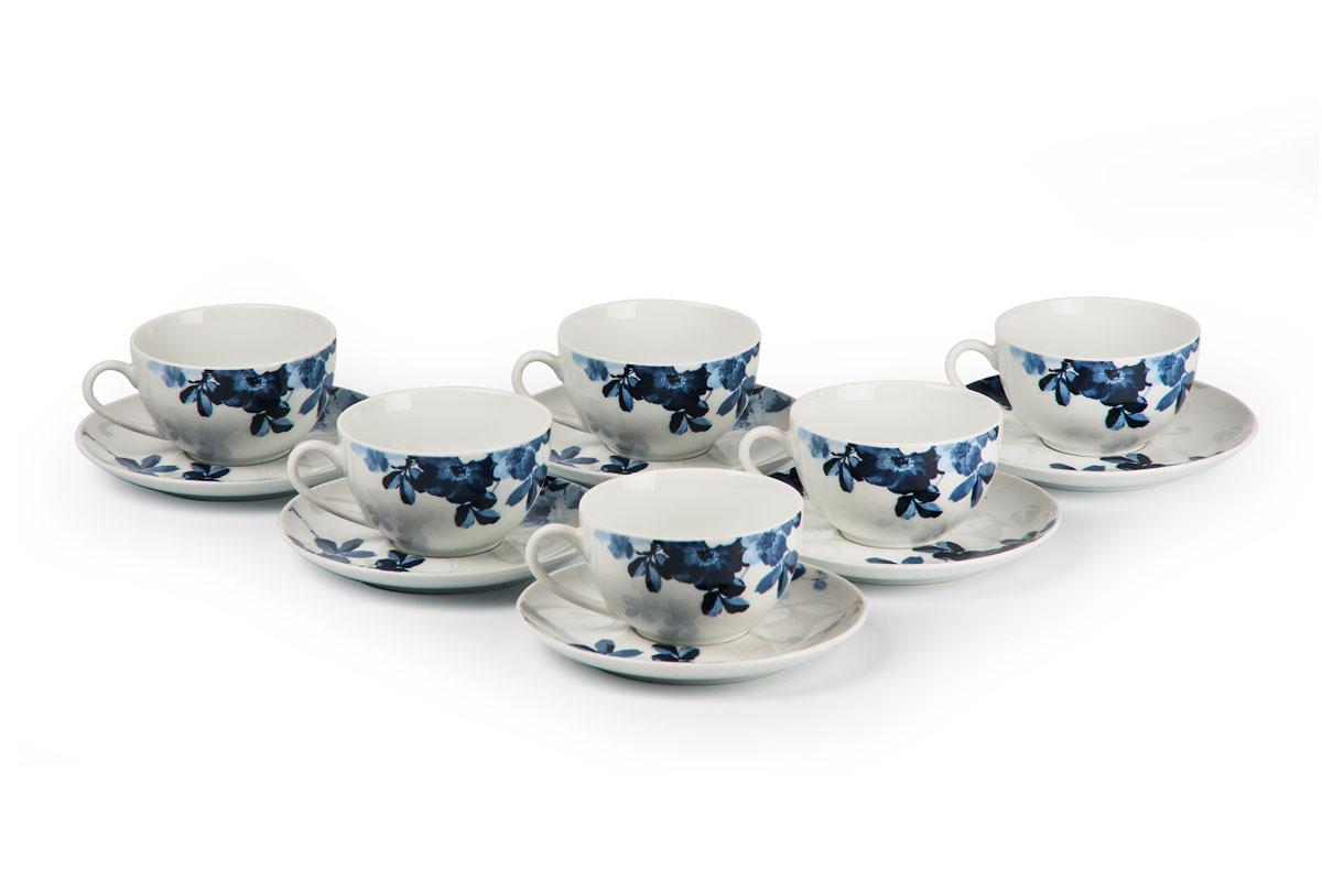 Monalisa 1780 набор чайных пар 210 мл*6шт, цвет: бело-синий115510Чайная пара 210 мл * 6 штук/ 12 предметов Материал: фарфор: цвет: бело-синийСерия: MONALISA