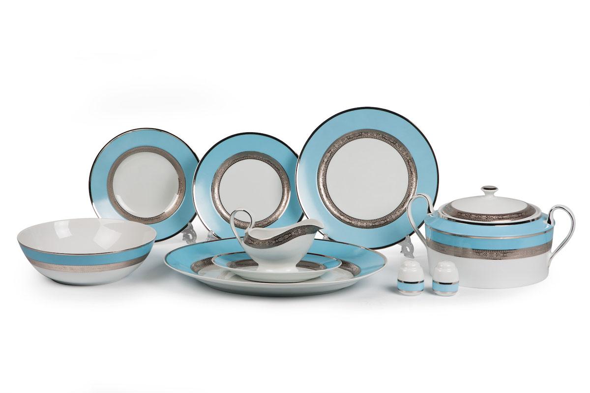 Mimosa 1626, сервиз столовый 25 предметов, цвет: бело-голубой с платиной115510Супница 3,5 л , глубокая тарелка 22 см 6 штук , тарелка 27см 6 штук , десертная тарелка 21см 6 штук , солонка, перечница, Блюдо овальное 24 см, Блюдо овальное 35 см , салатник 25см, соусник 230мл.Элегантная посуда класса люкс теперь на вашем столе каждый день. Сделанные из высококачественного материала с использованием новейших технологий, предметы сервировки Tunisie Porcelaine невероятно прочны и прекрасно подходят для повседневного использования. Материал: фарфор: цвет: бело-голубой с платинойСерия: MIMOSA