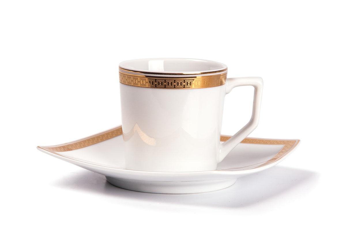 Kyoto 1555 набор кофейных пар 12 пр., цвет: белый с золотом115610Кофейная пара 120 мл * 6 штук/ 12 предметов Материал: фарфор: цвет: белый с золотомСерия: KYOTO