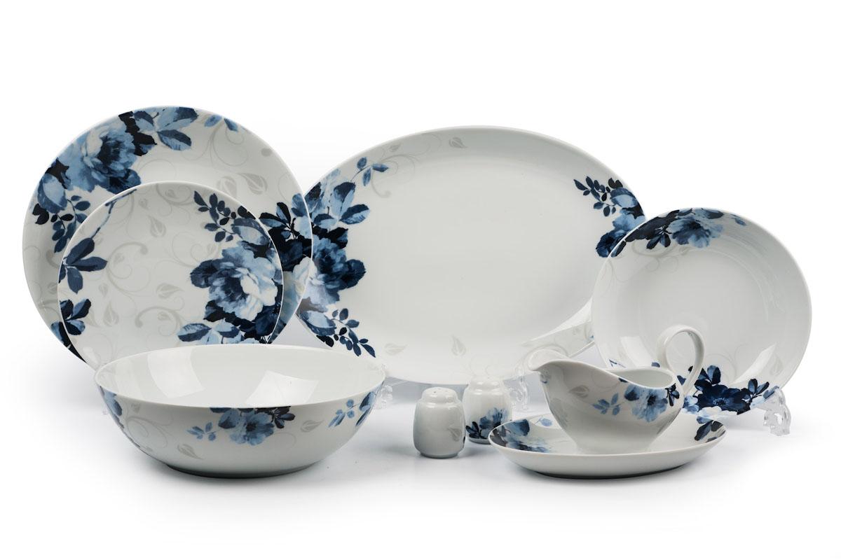 Monalisa 1780 столовый сервиз 24 предмета, цвет: бело-синийFS-91909глубокая тарелка 22 см 6 штук , тарелка 27см 6 штук , десертная тарелка 21см 6 штук , солонка, перечница, Блюдо овальное 24 см, Блюдо овальное 35 см , салатник 25см, соусник 230мл.Элегантная посуда класса люкс теперь на вашем столе каждый день. Сделанные из высококачественного материала с использованием новейших технологий, предметы сервировки Tunisie Porcelaine невероятно прочны и прекрасно подходят для повседневного использования. Материал: фарфор: цвет: бело-синийСерия: MONALISA