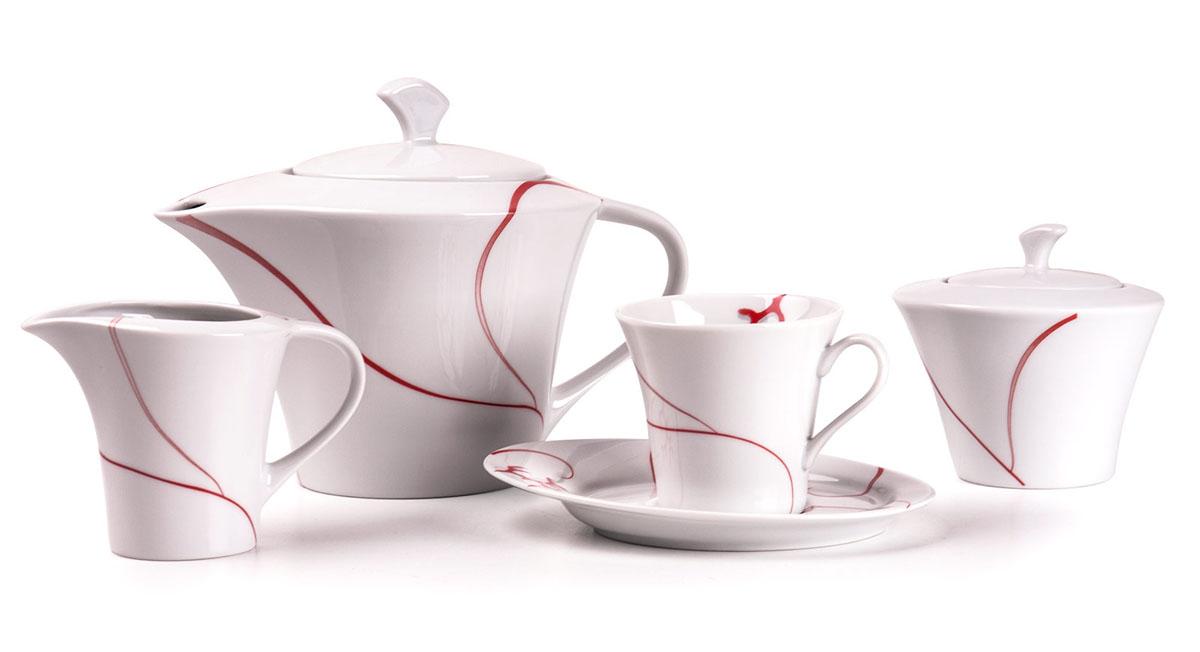 Ova 0544 чайный сервиз 15пр, цвет: белый с красным115510Чайник 400 л, сахарница 250мл, молочник 200мл, чайная пара 200 мл *6 штук210мл. Фарфор фабрики Tunisie Porcelaine, производится в Тунисе из знаменитой своим качеством и белизной глины, добываемой во французской провинции Лимож.Преимущества этого фарфора заключаются в устойчивости к сколам и трещинам, что возможно благодаря двойному термическому обжигу. Европейский дизайн, декор и формы обеспечиваются за счет тесного сотрудничества фабрики с ведущими мировыми дизайн-бюро такими как: Nelly Reynal, Yves De la Rosiere, Sarah Anderson, Heracles. Материал: фарфор: цвет: белый с краснымСерия: FEUILLE