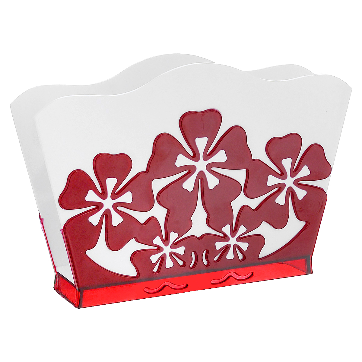 Салфетница Камелия, цвет: белый, красный115510Салфетница Камелия изготовлена из высококачественного прочного пластика и оформлена декоративными цветами. Яркий и оригинальный дизайн несомненно придется вам по вкусу. Такая салфетница великолепно украсит праздничный стол.
