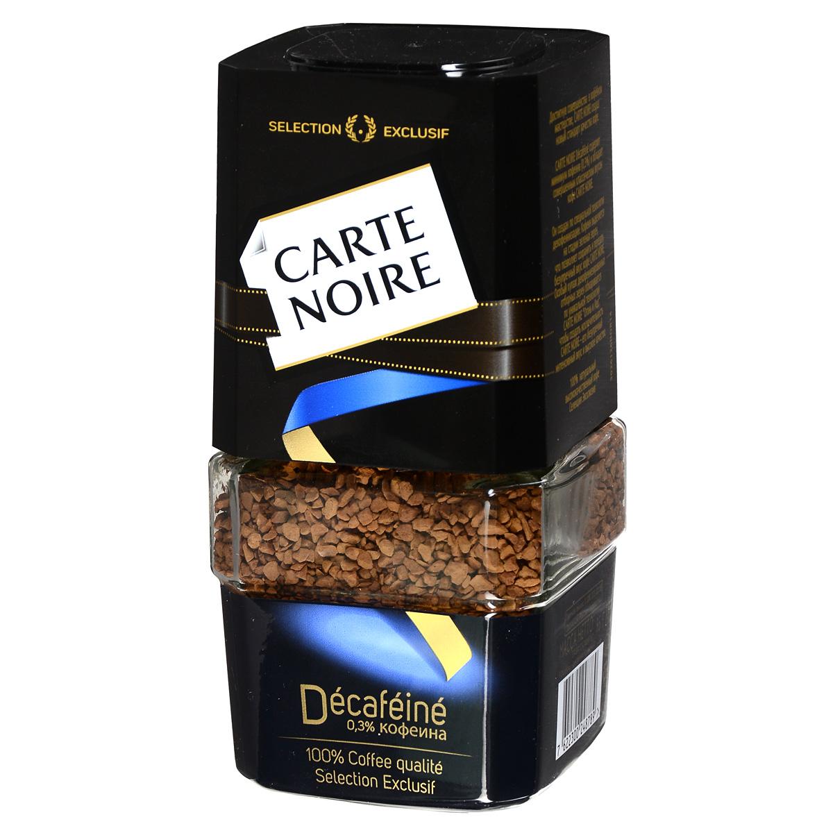 Carte Noire Decafeine кофе растворимый, 95 г (стеклянная банка)0120710Carte Noire Decafeine содержит минимум кофеина (0,3%) и обладает совершенным классическим вкусом кофе Carte Noire.Он создан по специальной технологии декофеинизации: кофеин выделяется на стадии зеленых зерен, что позволяет сохранить и передать безупречный вкус кофе Carte Noire. Особый купаж декофеинезированных отборных зерен обжариваются по уникальной технологии Carte Noire Огонь и Лед, чтобы создать исключительность Carte Noire - его безупречный интенсивный вкус и высокое качество.