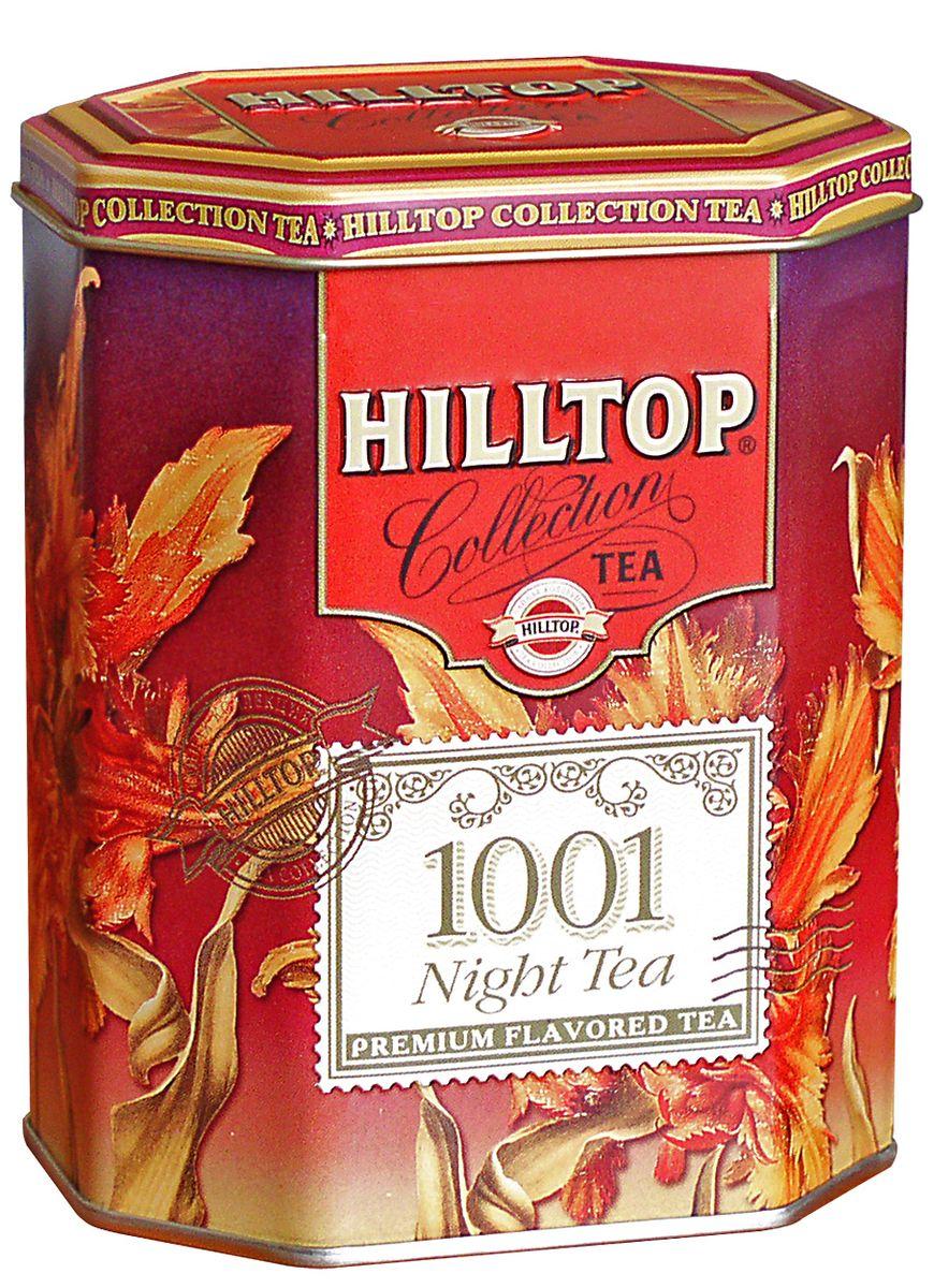 Hilltop 1001 Ночь ароматизированный листовой чай, 100 г0120710Hilltop 1001 Ночь содержит в себе смесь чёрных и зелёных байховых чаёв с добавлением лепестков розы, жасмина, подсолнечника и сафлора. Ароматизирован натуральными маслами.
