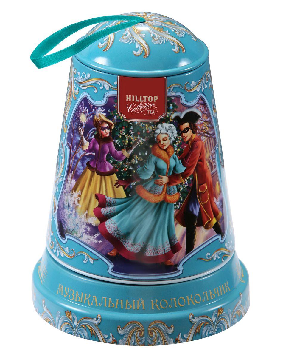 Hilltop Маскарад чайный набор0120710Музыкальная подарочная упаковка чая Hilltop Маскарад послужит великолепным украшением вашего дома в новогодние праздники! Благодаря необычному дизайну в виде елочной игрушки - колокольчика коробку можно повесить прямо на новогоднюю елку. Внутри вы найдете крупнолистовой чёрный чай Цейлонское утро.