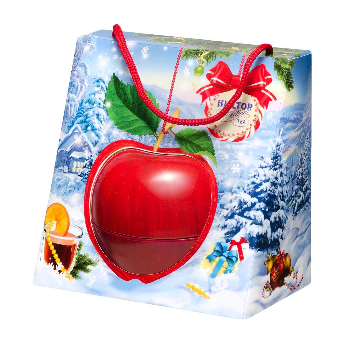 Hilltop Красное яблочко черный листовой чай, 50 г0120710Крупнолистовой цейлонский черный чай с глубоким насыщенным вкусом и изумительным ароматом Hilltop Красное яблочко будет идеальным дополнением к праздничным посиделкам! Яркая упаковка чая порадует вас, а также ваших друзей или близких, а терпкий чайный аромат согреет долгими зимними вечерами.
