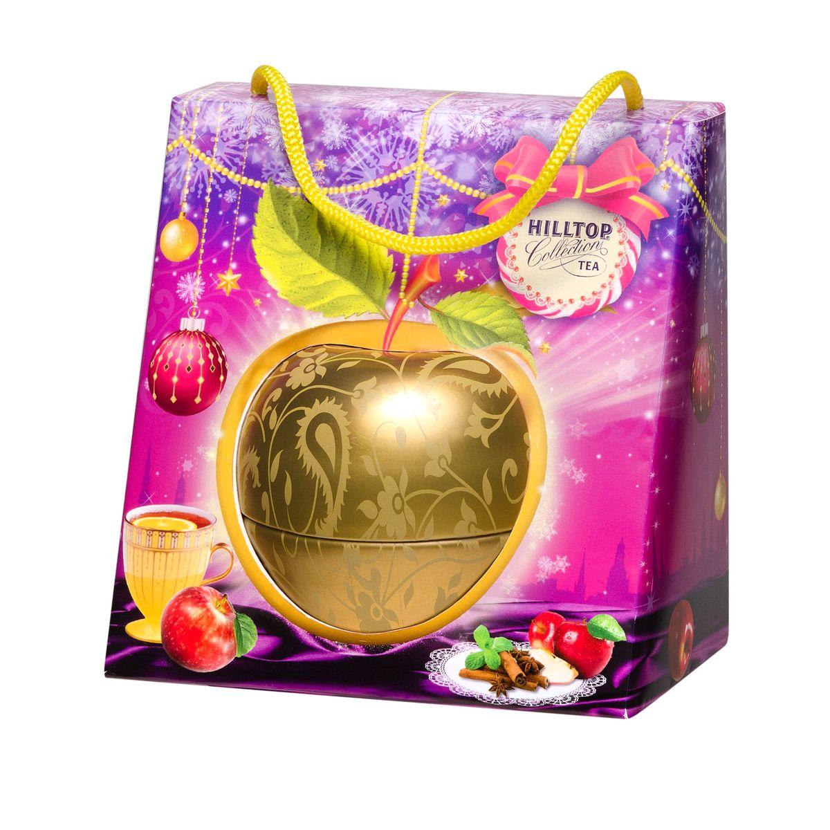 Hilltop Золотое яблочко черный листовой чай, 50 г4607099305793Крупнолистовой терпкий черный чай стандарта Супер Пеко Hilltop Золотое яблочкособран на лучших плантациях острова Цейлон. Этот чай с терпким настоем и ярким ароматом безусловно будет украшением новогоднего чаепития, а также отличным подарком вашим близким! Яркая подарочная упаковка не оставит равнодушным ни одного человека!