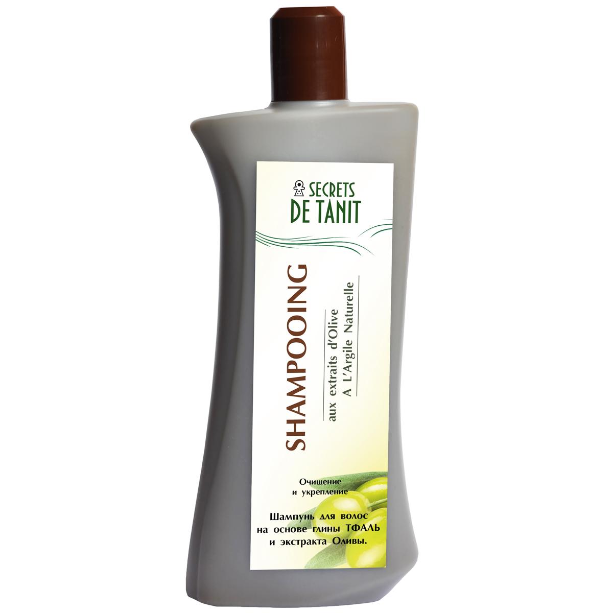 Secrets de Tanit Шампунь с Тфалью и маслом оливы, 400 мл5344Натуральный шампунь  Secrets de Tanitна основе глины Тфаль(Гассуль ) вулканического происхождения деликатно очищает волосы от загрязнений и осуществляетделикатный пилинг кожи головы. Масло оливы, входящее в состав шампуня, питает волосы, насыщает витаминами А, Е,защищает волосы от негативного воздействия окружающей среды. В результате мытья волосыуплотняются, приобретают блеск и сияние.