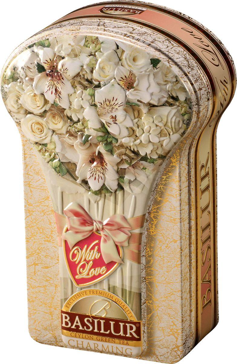 Basilur Charming зеленый листовой чай, 100 г (жестяная банка)0120710Basilur Charming - зеленый байховый листовой чай с кокосовыми хлопьями, лепестками василька и ароматами розы и граната. Красочная упаковка с изображениями цветом будет радовать глаз всех членов семьи.