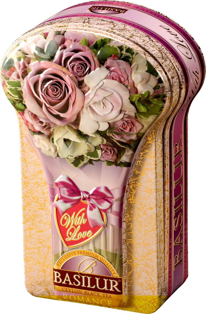 Basilur Romance черный листовой чай, 100 г (жестяная банка)114352Чёрный цейлонский байховый листовой чай Basilur Romance с лепестками цветов апельсина, розы и амаранта и ароматами розы и бергамота понравится всем любителям чая.Необычная шкатулка в виде букета роз послужит прекрасным подарком на любое торжество, или просто найдет достойное место дома, украсив вашу кухню.