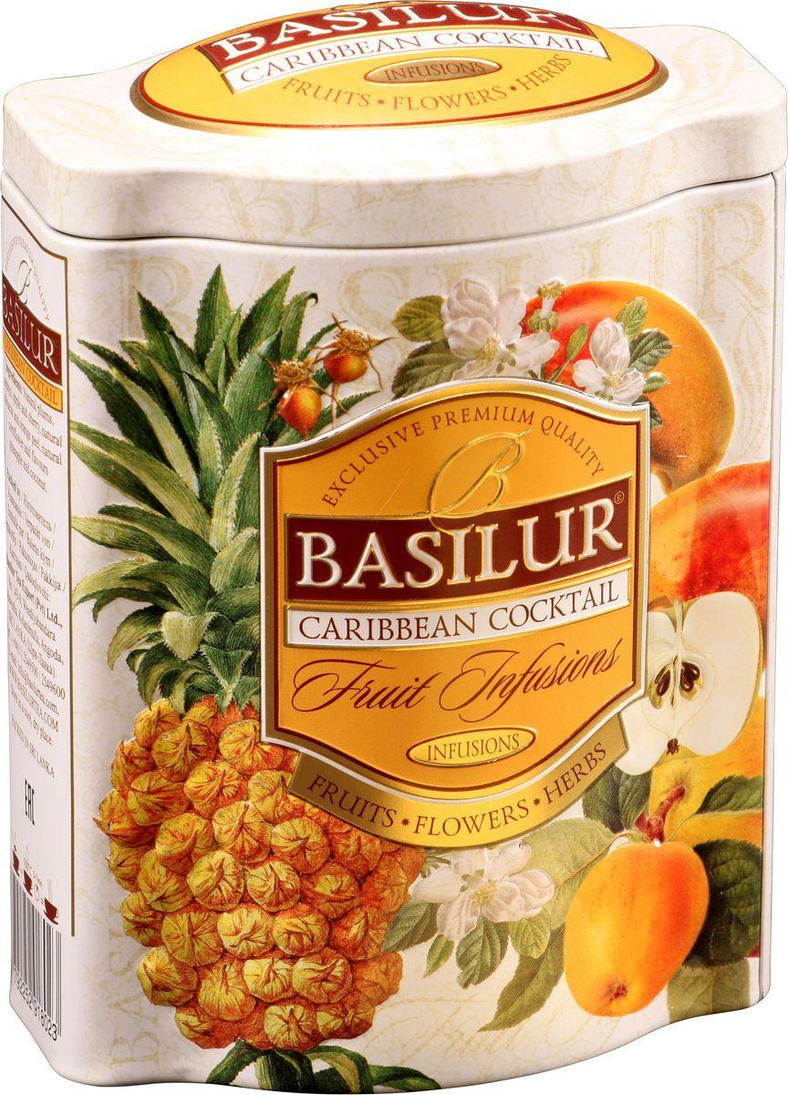 Basilur Caribbean Cocktail фруктовый листовой чай, 100 г (жестяная банка)70527-00Basilur Карибский коктейль - фруктовый чай с изюмом, кусочками папайи, яблока и вишни, гибискусом, цедрой апельсина, лепестками василька и ароматами ананаса и кокоса.Перенесите себя на Карибские острова, и вы насладитесь восхитительным сочетанием тропических ароматов Карибского бассейна. Наслаждайтесь чудесами волшебных островов с ароматами папайи, ананаса, кокоса и других натуральных компонентов, которые являются идеальным тропическим коктейлем для любого времени суток.