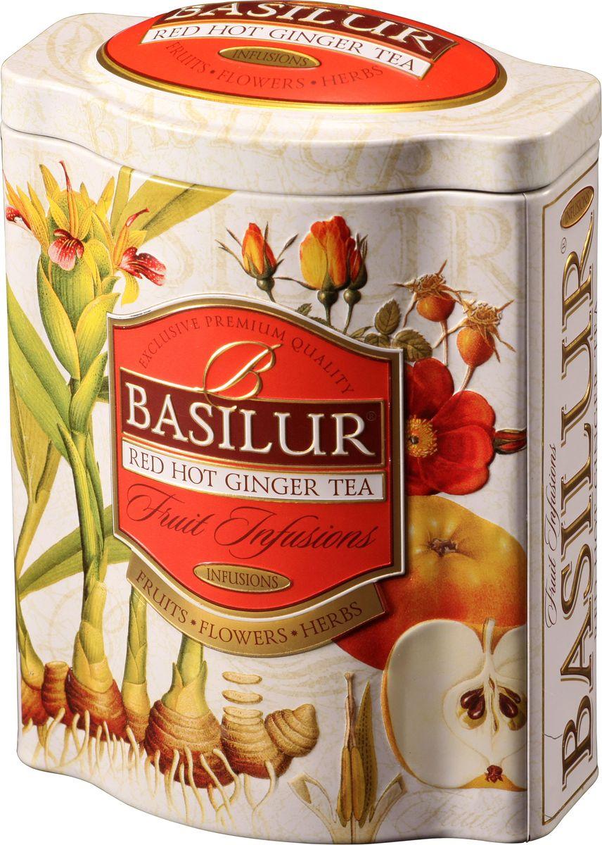 Basilur Red Hot Ginger фруктовый листовой чай, 100 г (жестяная банка)70531-00Фруктовый чайBasilur Red Hot Ginger с кусочками яблока и папайи, гибискусом, шиповником, имбирем, цедрой апельсина. Насладитесь восхитительными азиатскими ароматами с Basilur Пряный имбирь. Великолепное сочетание имбиря, яблока, пикантной апельсиновой корки и других компонентов чая, которые обеспечат вас дополнительной энергией. Чай - природный источник энергии, который необходимо употреблять в горячем или холодном виде, идеально подходит для любого времени суток.