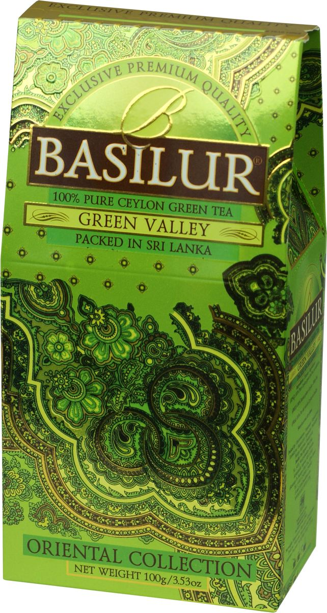 Basilur Green Valley зеленый листовой чай, 100 г70858-00Basilur Green Valley - зеленый байховый листовой чай. Приятный на вкус и богатый своими отличительными свойствами цейлонский зелёный чай является кульминацией богатой истории выращивания чая на острове Цейлон. Ценные компоненты входящие в его состав, такие как флавоноиды, антиоксиданты и катехины, предотвращают окислительное повреждение в клетках лучше чем витамины С и Е, делая чай отличным помощником в поддержании здорового образа жизни и приятным напитком в течении всего года.