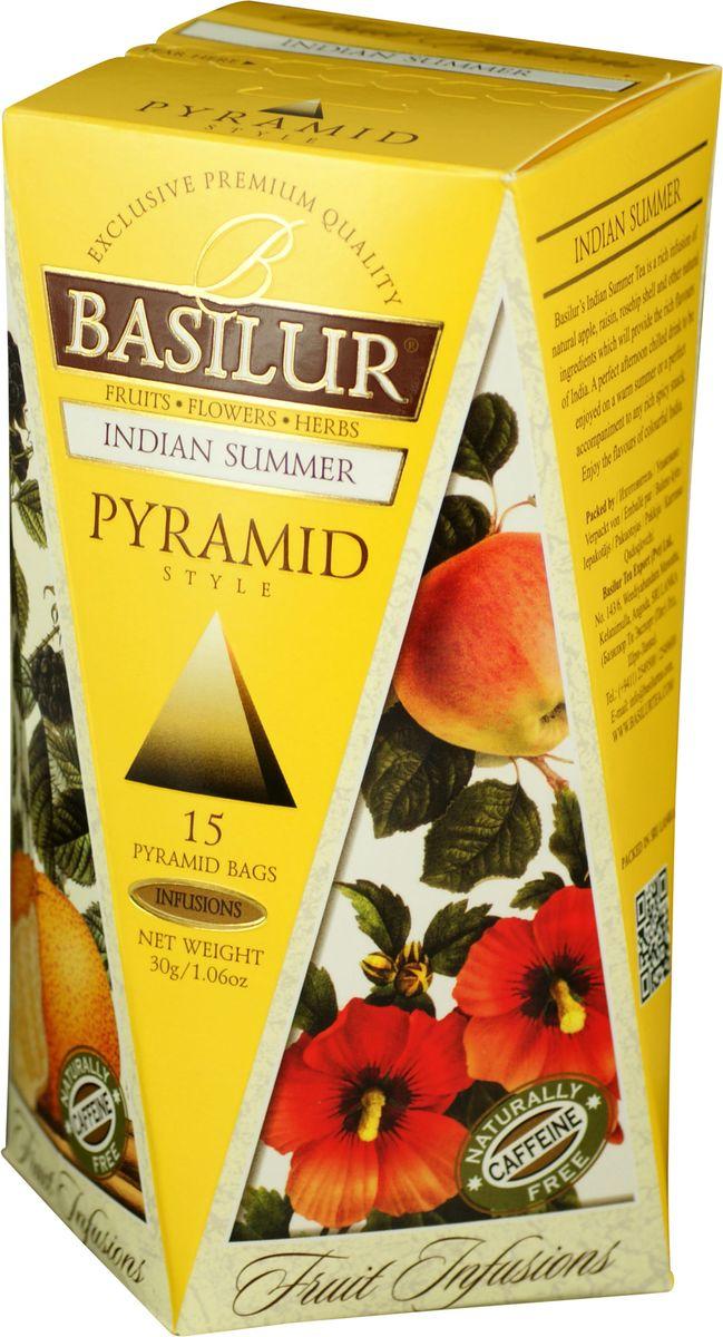 Basilur Indian Summer фруктовый чай в пакетиках, 15 шт0120710Basilur Indian Summer - фруктовый чай в пирамидках с кусочками яблока, изюма и ежевики, шиповником и корицей, гибискусом, цедрой апельсина, бутонами розы и лепестками подсолнечника, ароматами алоэ, апельсина и сливок. Композиция из яблока, изюма, шиповника и других компонентов, которые предоставляют собой богатые ароматы Индии, будет прекрасным дополнением к любому пряному блюду. Также напитком можно наслаждаться теплыми летними днями в охлажденном виде.