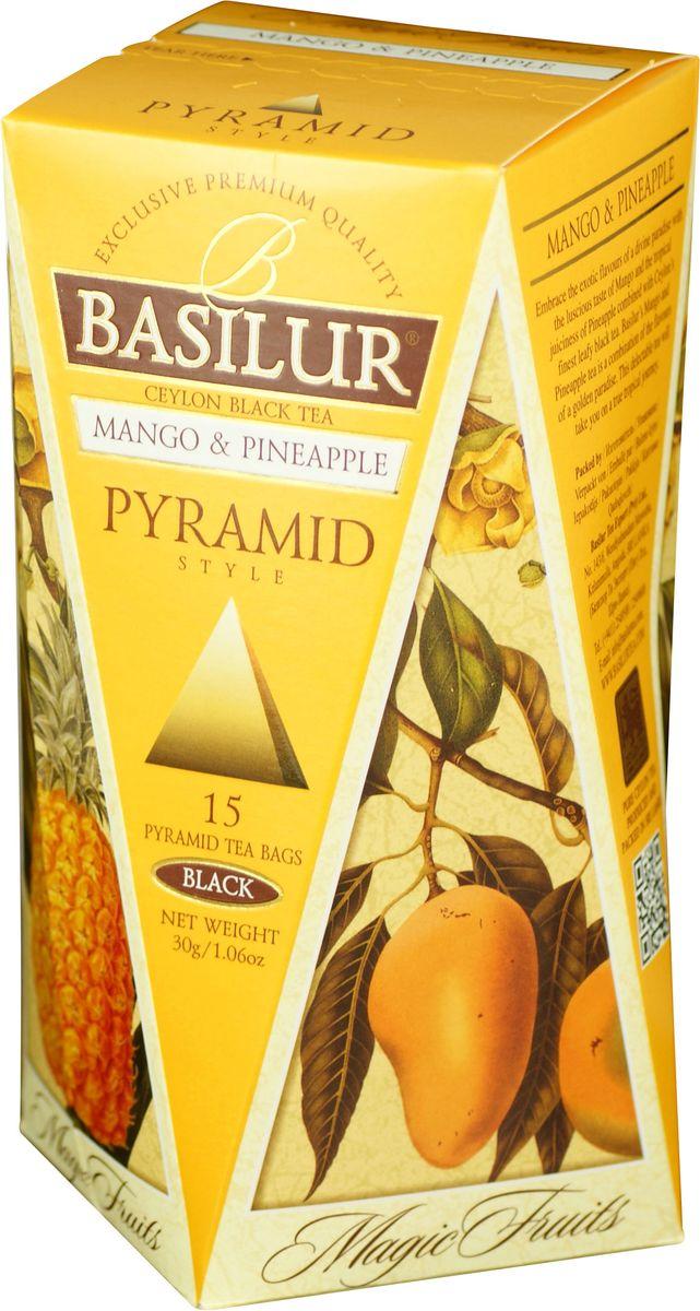 Basilur Mango and Pineapple черный чай в пакетиках, 15 шт0120710Чай чёрный цейлонский байховый мелколистовой Basilur Mango and Pineapple в пирамидках с яблоком и ароматами манго, ананаса и маракуйи. Экзотические ароматы сладкого манго и сочного ананаса в сочетании с лучшим листовым цейлонским чёрным чаем создают ощущение бесконечного путешествия по тропическому раю. Чай Basilur Манго и ананас насыщен ароматами солнечных тропиков.