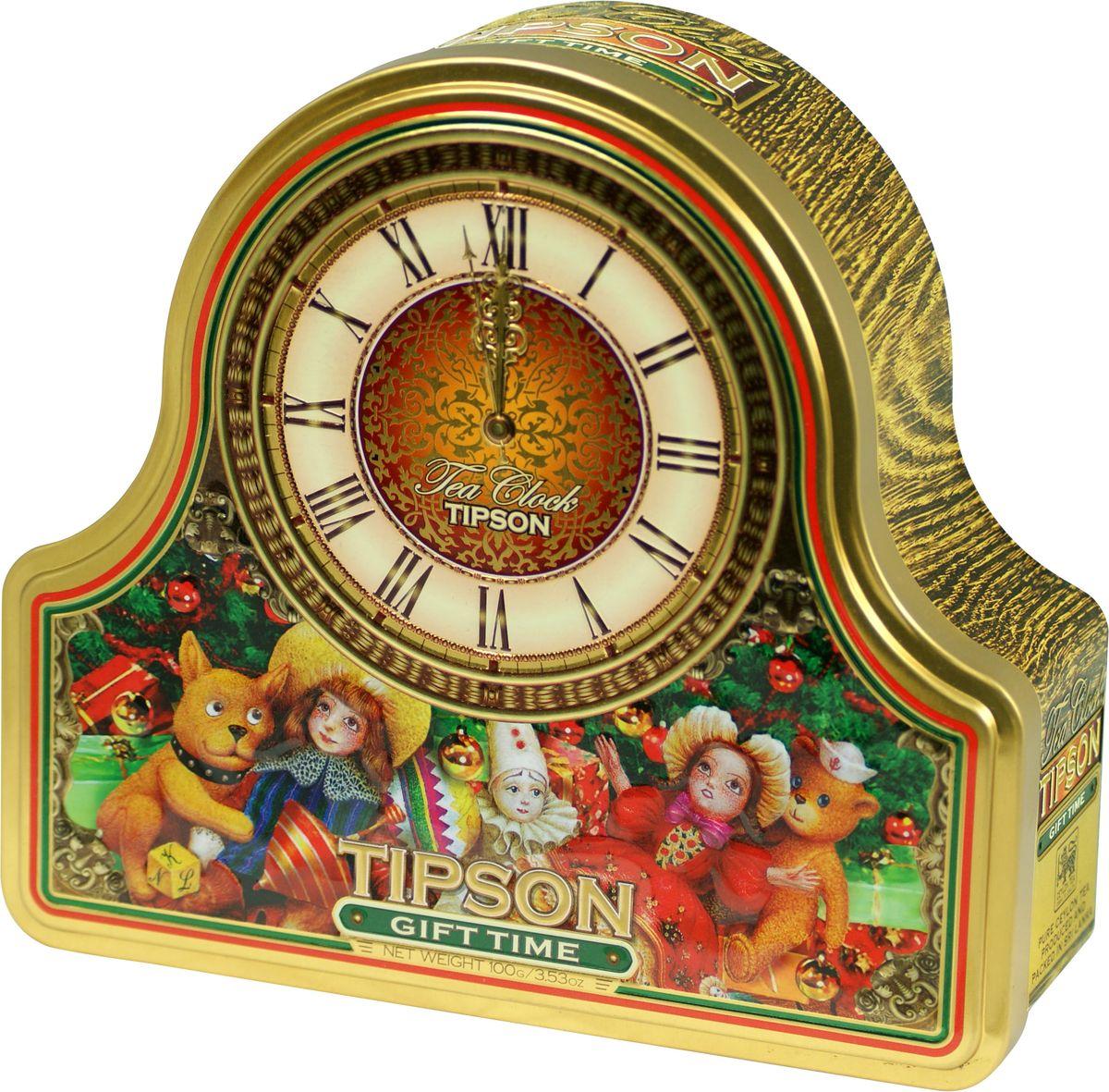 Tipson Gift Time черный листовой чай, 100 г (жестяная банка)70418-00Tipson Gift Time - чёрный цейлонский байховый листовой чай с ароматами клубники и сливок. Поставляется в новогодней подарочной металлической банке в форме часов.
