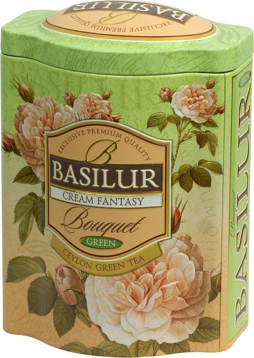 Basilur Cream Fantasy зеленый листовой чай, 100 г (жестяная банка)0120710Basilur Cream Fantasy зеленый байховый листовой чай с кусочками папайи, лепестками амаранта, а также ароматами клубники и сливок. Насыщенный, но мягкий вкус этого чая играет множеством сложных оттенков, восхитительное сочетание вкуса особого зеленого чая со сладким, тонким ароматом клубники, дополненное нежностью сливок, создаёт ощущение блаженства.