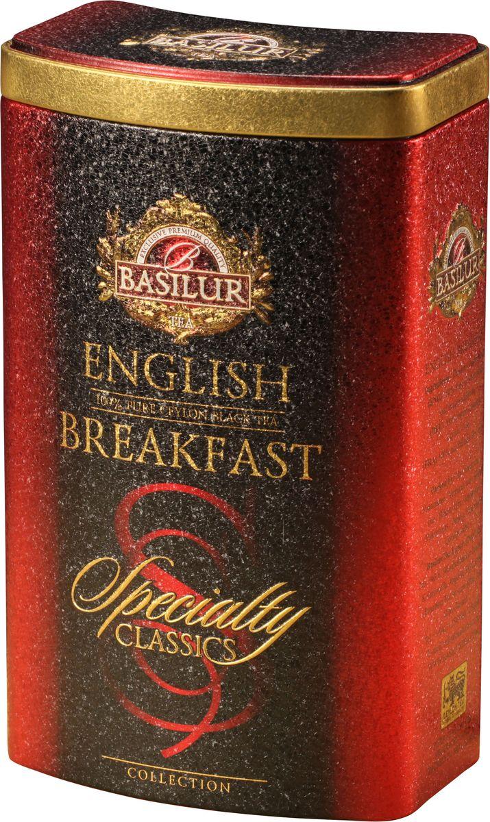 Basilur English Breakfast черный листовой чай, 100 г (жестяная банка)0120710Basilur English Breakfast - черный байховый листовой чай. Насыщенный, крепкий и богатый вкус черного чая хорошо сочетается с молоком и сахаром, в стиле, который традиционно ассоциируется с настоящим английским завтраком.