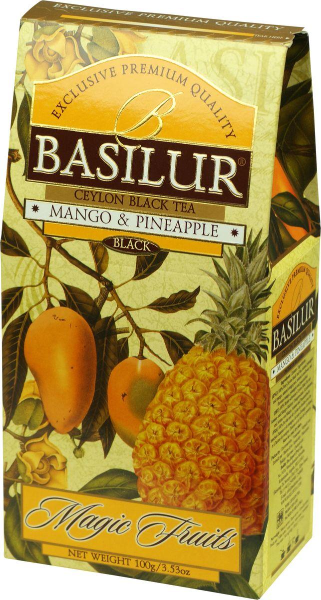 Basilur Mango and Pineapple черный листовой чай, 100 г70858-00Чай чёрный цейлонский байховый листовой Basilur Mango and Pineapple с кусочками ананаса и манго, цедрой апельсина, лепестками васильков и ароматами манго, ананаса и маракуйи. Экзотические ароматы сладкого манго и сочного ананаса в сочетании с лучшим листовым цейлонским чёрным чаем создают ощущение бесконечного путешествия по тропическому раю. Чай Basilur Манго и ананас насыщен ароматами солнечных тропиков.