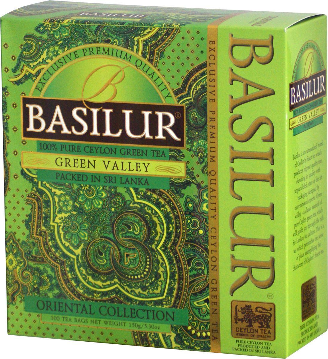Basilur Green Valley зеленый чай в пакетиках, 100 шт0120710Basilur Green Valley - зеленый байховый мелколистовой чай в пакетиках с ярлычками для разовой заварки. Приятный на вкус и богатый своими отличительными свойствами цейлонский зелёный чай является кульминацией богатой истории выращивания чая на острове Цейлон. Ценные компоненты входящие в его состав, такие как флавоноиды, антиоксиданты и катехины, предотвращают окислительное повреждение в клетках лучше чем витамины С и Е, делая чай отличным помощником в поддержании здорового образа жизни и приятным напитком в течении всего года.