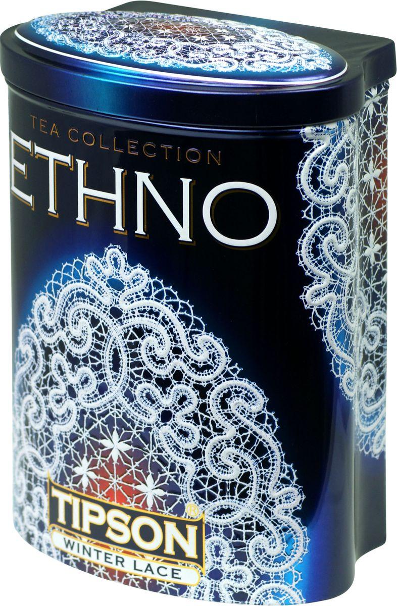 Tipson Winter Lace черный листовой чай, 100 г (жестяная банка)70485-00Чай чёрный цейлонский байховый листовой Tipson Winter Lace с ароматом мороженного красного винограда.