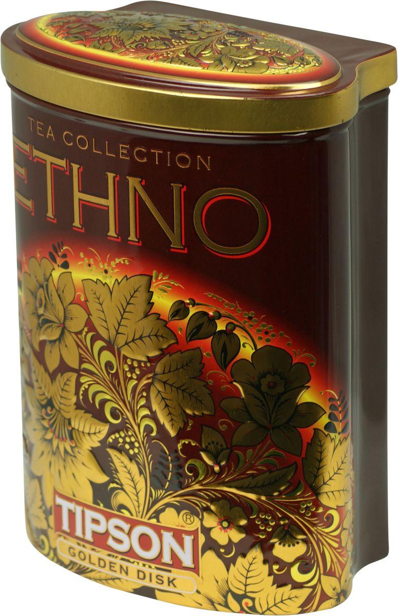 Tipson Golden Disk черный листовой чай, 100 г (жестяная банка)0120710Чай чёрный цейлонский байховый листовой Tipson Golden Diskс ароматами кофе, ванили и сливок.