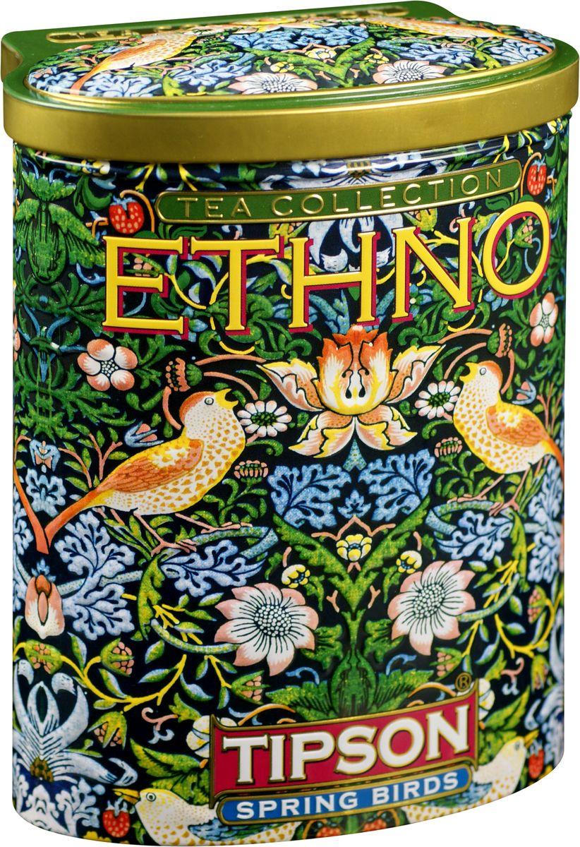 Tipson Spring Birds зеленый листовой чай, 100 г (жестяная банка)0120710Чай зелёный цейлонский байховый листовой Tipson Spring Birds с ароматами вишни и граната.