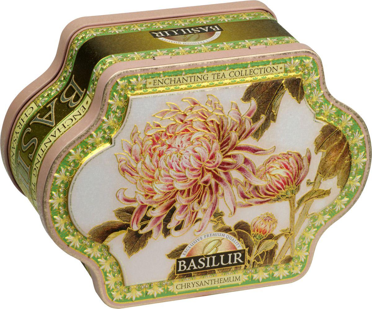 Basilur Chrysanthemum зеленый листовой чай, 100 г (жестяная банка)70996-00Чай зелёный цейлонский байховый листовой Basilur Chrysanthemum с папайей, с бутонами хризантемы, лепестками цветов и ароматами миндаля и жасмина.