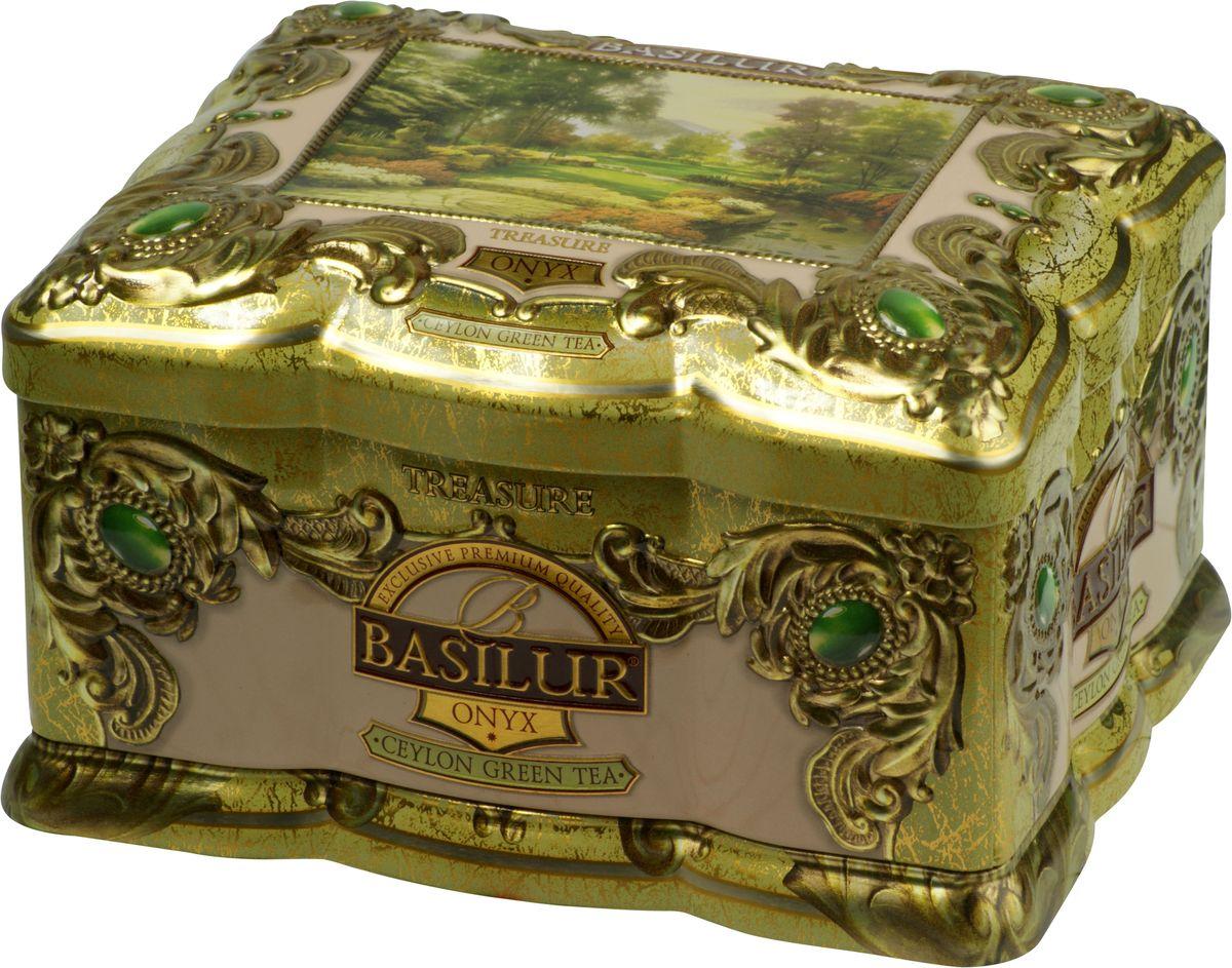 Basilur Onyx зеленый листовой чай, 100 г (жестяная банка)0120710Зелёный цейлонский байховый листовой чай Basilur Onyx с кусочками ананаса, лепестками цветов и ароматами манго, маракуйи и лайма напомнит вам об отпуске в жарких странах!Красивая шкатулка с чаем несомненно найдет свое место у вас дома, украсив любое чаепитие. Вы можете преподнести ее как подарок по любому торжественному поводу, нарядная упаковка и великолепное содержимое не оставят равнодушным никого!