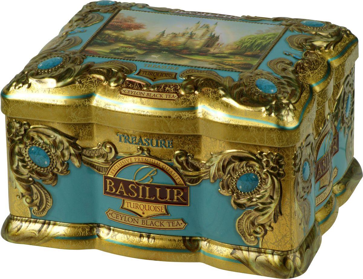 Basilur Turquoise черный листовой чай, 100 г (жестяная банка)70997-00Чёрный цейлонский байховый листовой чай Basilur Turquoise с кусочками манго и папайи, лепестками цветов и ароматами корицы и персика взбодрит и подарит тепло в течение всего дня.Красивая шкатулка с изображением замка будет приятным подарком к любому празднику, а также прекрасно украсит любое чаепитие!