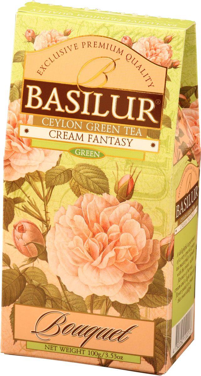 Basilur Cream Fantasy зеленый листовой чай, 100 г0120710Basilur Cream Fantasy зеленый байховый листовой чай с кусочками папайи, лепестками амаранта, а также ароматами клубники и сливок. Насыщенный, но мягкий вкус этого чая играет множеством сложных оттенков, восхитительное сочетание вкуса особого зеленого чая со сладким, тонким ароматом клубники, дополненное нежностью сливок, создаёт ощущение блаженства.