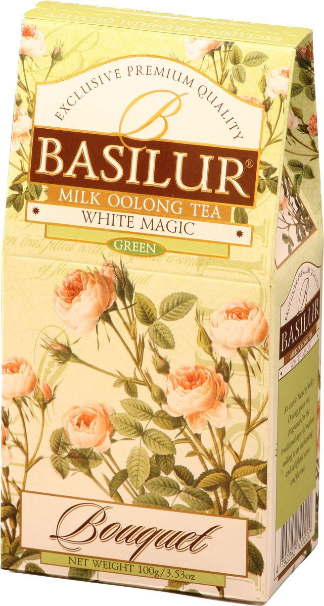 Basilur White Magic зеленый листовой чай, 100 г0120710Чай зеленый китайский байховый листовой Basilur White Magic с молочным ароматом. Чай Basilur White Magic - это уникальное сочетание молочного зелёного чая улун (Oolong), который составляет основу старинной традиционной рецептуры приготовления напитка восхитительного вкуса и аромата.