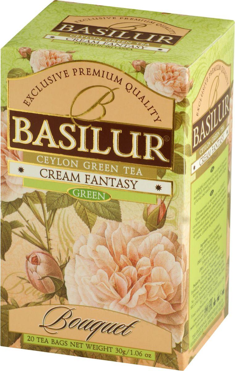 Basilur Cream Fantasy зеленый чай в пакетиках, 20 шт0120710Basilur Cream Fantasy зеленый байховый мелколистовой чай с ароматами клубники и ванили. Насыщенный, но мягкий вкус этого чая играет множеством сложных оттенков, восхитительное сочетание вкуса особого зелёного чая со сладким, тонким ароматом клубники, дополненное нежностью ванили, создаёт ощущение блаженства.
